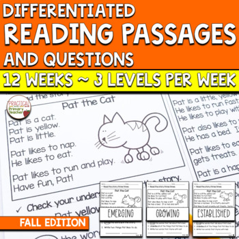 Differentiated Reading Passages and Comprehension Questions - Fall Edition