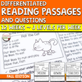 Differentiated Reading Passages and Comprehension Questions FICTION - Fall
