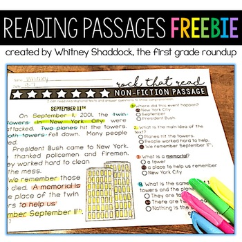 Differentiated Reading Comprehension Passages for First Grade: FREEBIE