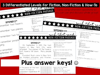 Differentiated Reading Comprehension Passages for 1st Grade: Patriotic
