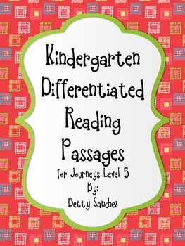Differentiated Reading Passages for  Kindergarten Unit 5
