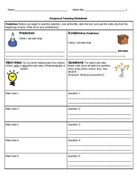 Reciprocal Teaching Worksheets