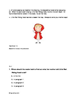 Differentiated Red Riding Hood Common Core