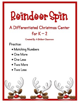 Differentiated Reindeer Spin :: Number Match, 1 or 2 More, 1 or 2 Less