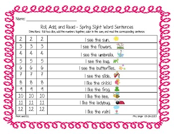 Differentiated Roll, Add, and Read Spring Sight Word Sentences