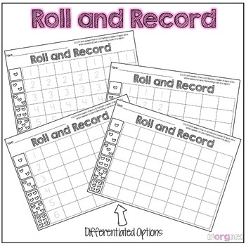 Differentiated Roll and Record Kindergarten February Math Center