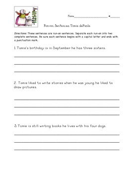 Differentiated Run-on Sentence Practice: Tomie dePaola