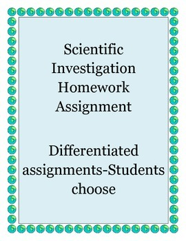 Differentiated Scientific Investigation Homework