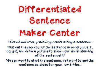 Differentiated Sentence Maker Thanksgiving
