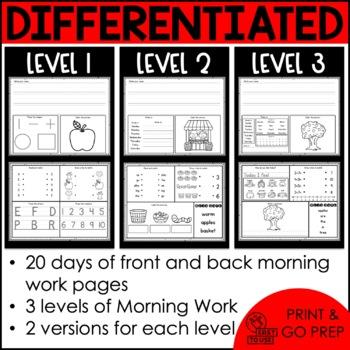 Intermediate Special Education Morning Work: September Edition {3 Levels!}