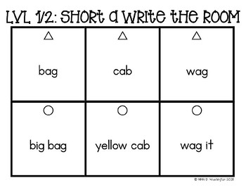 Differentiated Short A Word and Sentence Write the Room