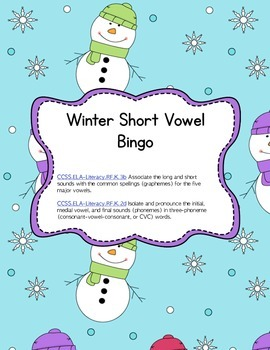 Differentiated Short Vowel Bingo: Word work or Literacy Center (Common Core)