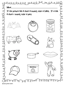 Differentiated Short a and Short i Picture Sort