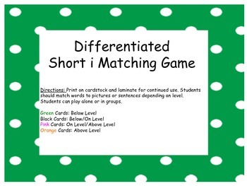 Differentiated Short i Matching Game