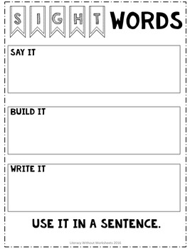 Differentiated Sight Word Activities Editable