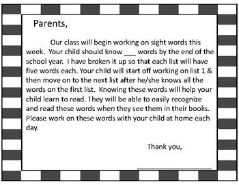 Kindergarten Sight Word Practice & Assessments
