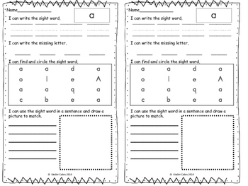 Differentiated Sight Word Practice Fry 1st 100 Words for Kindergarten