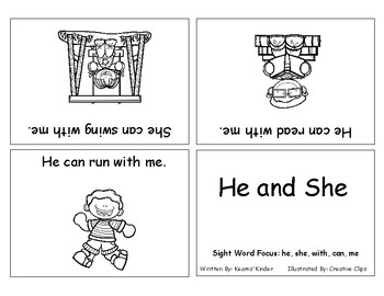 Differentiated Sight Word Readers- He and She