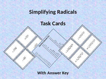 Differentiated Simplifying Radical Expression Task Cards