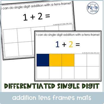 Differentiated Single Digit Addition with Tens Frames Center