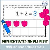 Single Digit Addition with Ten Frame Mats, includes Google Slides™