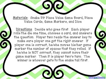 Differentiated Snake Pit Place Value Game