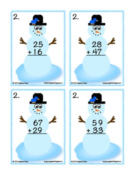 Differentiated Snowman Play ~ 2 & 3 Digit Addition with and without regrouping