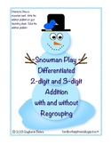 Differentiated Snowman Play ~ 2 & 3 Digit Addition with an