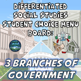 Differentiated Social Studies Choice Menu: The Three Branches of Government