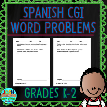 Spanish Differentiated Word Problems for Kindergarten, 1st & 2nd grade