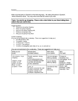Differentiated Spanish Shopping writing assignment