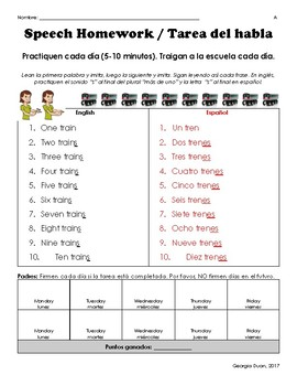 Differentiated Speech Homework for Plurals Levels AA-A-B-C (English/Spanish/ASL)