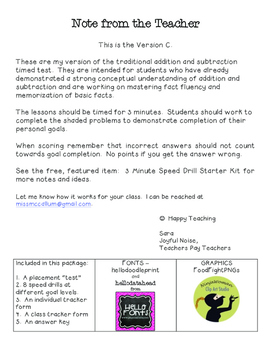 Differentiated Speed Drill Version C (Mixed Addition and Subtraction Facts)