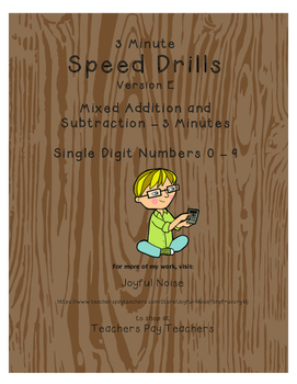 Differentiated Speed Drill Version E (Mixed Addition and Subtraction Facts)