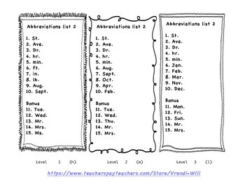 Differentiated Spelling, 2 Abbreviation lists, -our, -ar