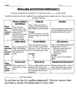 Differentiated Spelling Contract Choice Board for Upper Elementary 4 Contracts