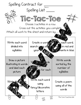 Differentiated Spelling Contracts- Student Choice