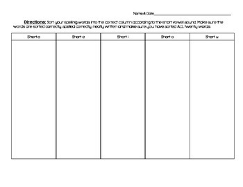 Differentiated Spelling Contracts (Weeks 1 through 10)