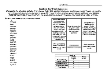 Differentiated Spelling Contracts (Weeks 11 through 20)