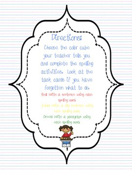 Differentiated Spelling Cubes