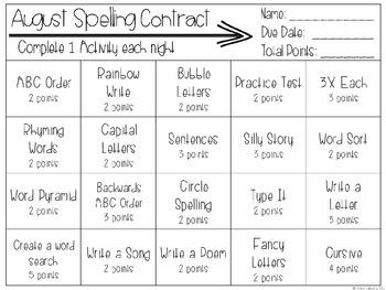 Differentiated Spelling Homework