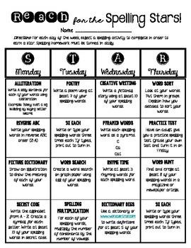 Differentiated Spelling Homework - Menu Choice Board
