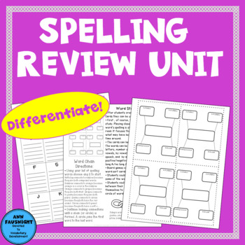 Differentiated Spelling Review Unit for any Spelling List