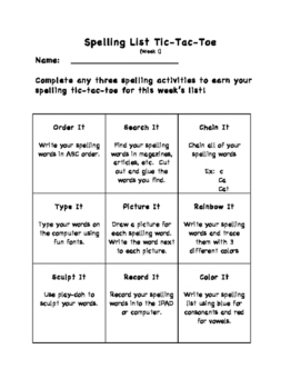 Differentiated Spelling Tic Tac Toe