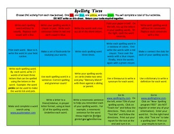 Differentiated Spelling Tiered Spelling Assignment Homework Choice Boards