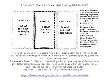 Differentiated Spelling, antonyms, kn-, gn-, silent w, f to v + es, apostrophes