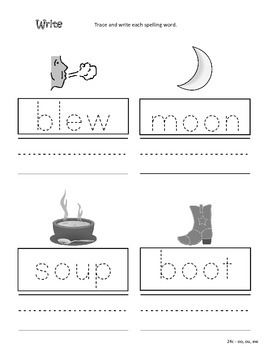 Differentiated Spelling/Phonics Practice 24 - words with oo, ew, ou