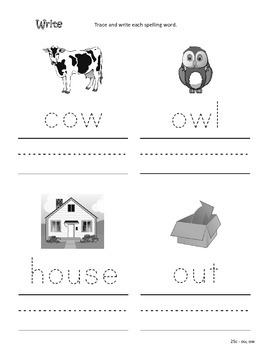 Differentiated Spelling/Phonics Practice 25 - words with ow, ou