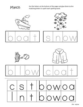 Differentiated Spelling/Phonics Practice 19 - words with oa, ow