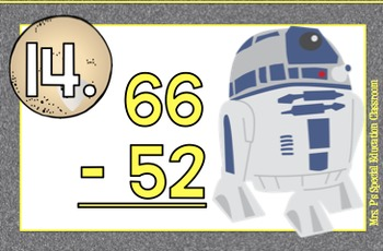 Differentiated Star Wars Subtraction Math Scoot & Task Cards